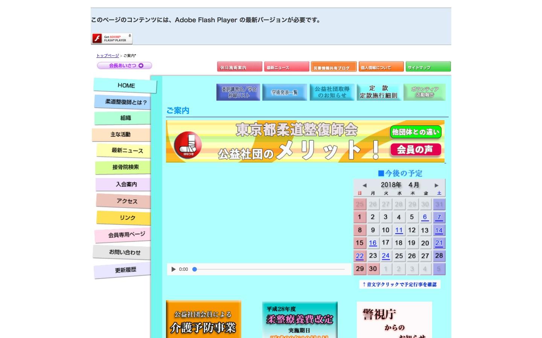 東京都柔道整復師会ホームページのイメージ
