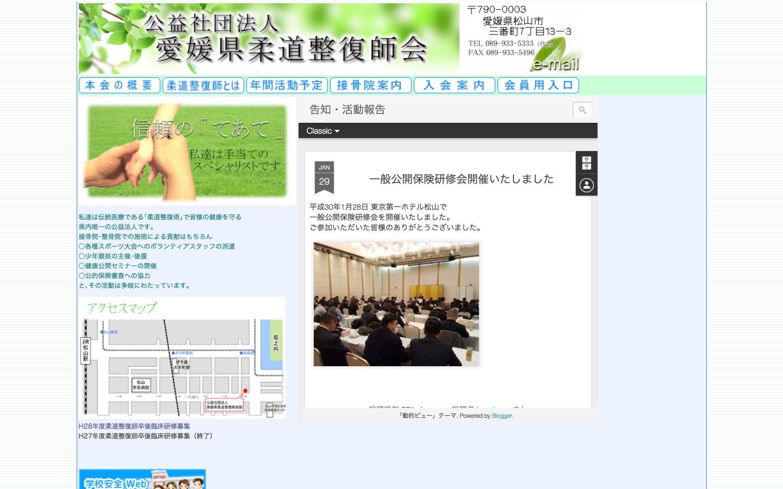 愛媛県柔道整復師会ホームページのイメージ